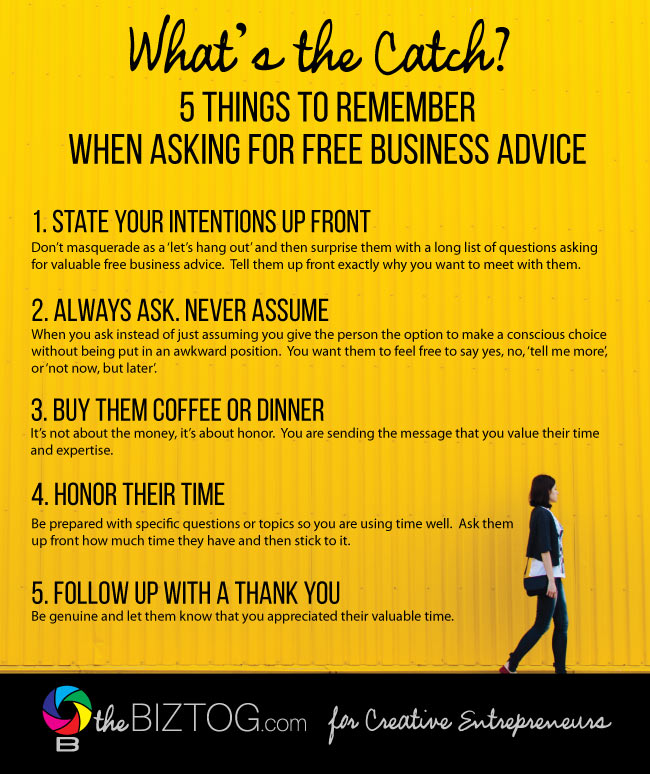 how to ask for free business advice infographic